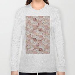 Modern rose gold geometric star flower pattern Long Sleeve T-shirt