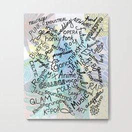 Colourful Music Categories Handwriting Metal Print