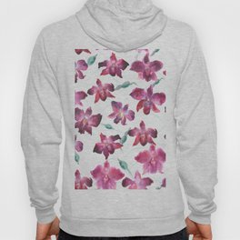 Hand drawn pattern Beautiful watercolor pink Orchid Hoody