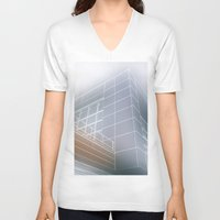 architect V-neck T-shirts featuring Minimalist architect drawing by Solar Designs