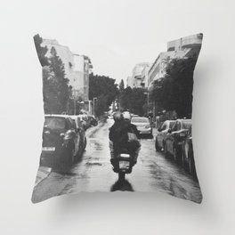 Couple in a Vespa Throw Pillow