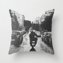 Couple in a Vespa Throw Pillow