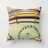 santa monica Throw Pillows featuring Santa Monica by Nikole Lynn Photography