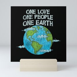 One Love One People Planet Climat Change Earth Day Mini Art Print