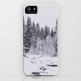 Winter in the forest and a frozen river iPhone Case