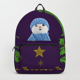 Sparkly gold stars, snowman and green tree on purple Backpack