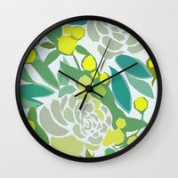 floral pattern Wall Clocks featuring floral pattern by frameless
