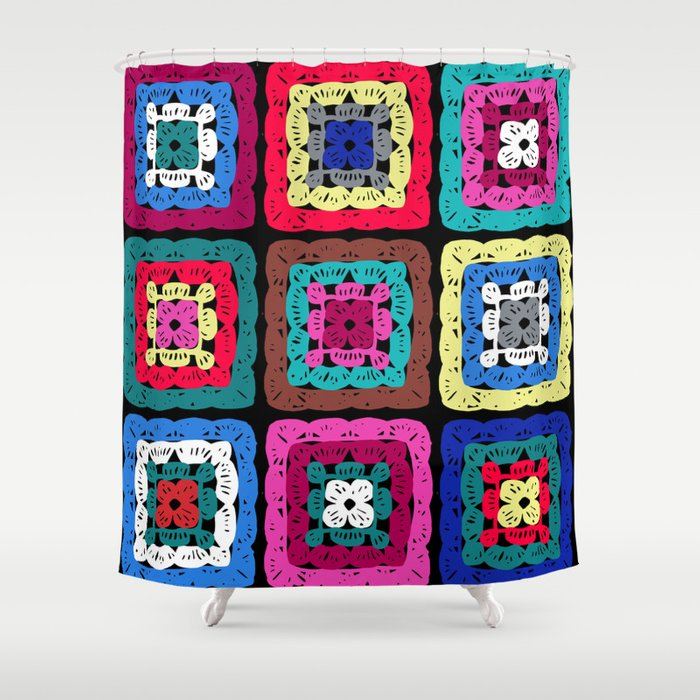 Granny Square Shower Curtain