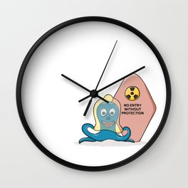 octopus with latex protection and closed door Wall Clock
