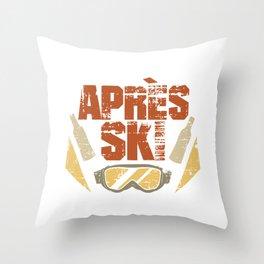 Apres Ski Vintage style brille Throw Pillow