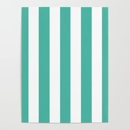 Blue lagoon - solid color - white vertical lines pattern Poster