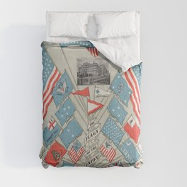 The Flags of the Union (1901) a vibrantly colored  of various USA flags and a bald eagle perched on Comforters