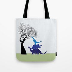 Dinosaur tower Tote Bag