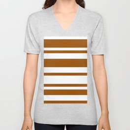 Mixed Horizontal Stripes - White and Brown Unisex V-Neck