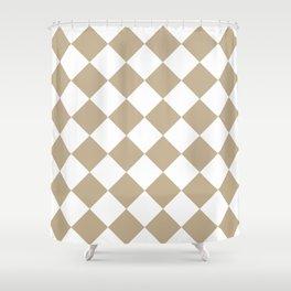 Large Diamonds - White and Khaki Brown Shower Curtain