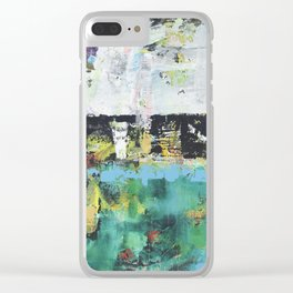 Aloe Abstract Painting Green Clear iPhone Case