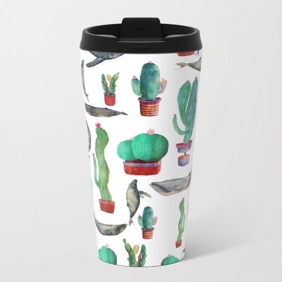 Cactus & whales Pattern Metal Travel Mug