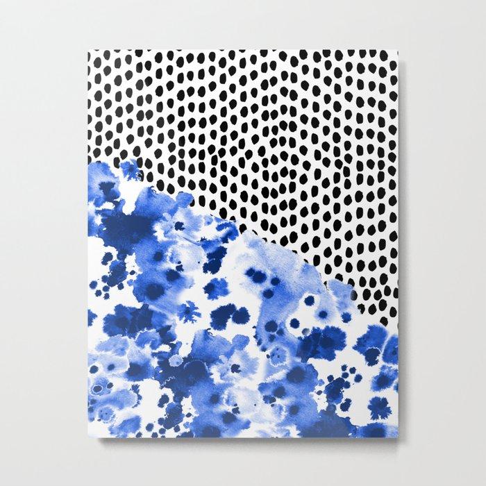 Monroe - India ink, indigo, dots, spots, print pattern, surface design Metal Print