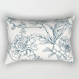 Navy and Cream Vintage Chinoiserie Botanical Floral Toile Wallpaper Pattern Rectangular Pillow