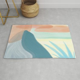 Desert Land // Mountains Sun Clouds Agave Plant Sand Simple Digital Acrylic Landscape Painting Rug