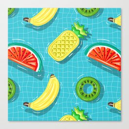 Pool Party pineapple, watermelon,banana,kiwi Canvas Print