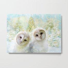 Fluffy Owls Metal Print