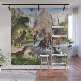 Jurassic dinosaurs in the river Wall Mural