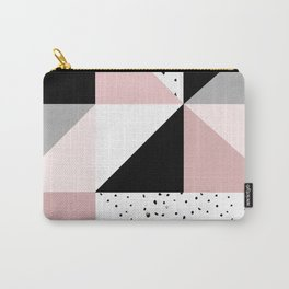 Geometrical pink black gray watercolor polka dots color block Carry-All Pouch