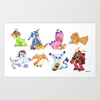 digimon Art Prints featuring Digimon Group by Catus