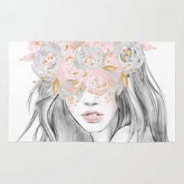She Wore Flowers in Her Hair Rose Gold by Nature Magick Rug