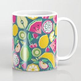 Paper cut geo fruits // teal background multicoloured geometric fruits Coffee Mug