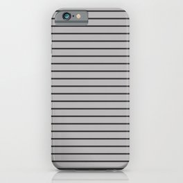 Dark Grey on Silver Pinstripes | Thin Horizontal Pinstripes | iPhone Case