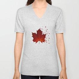 Maple Leaf Dispersion Effect Unisex V-Neck