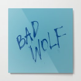 Doctor Who Bad Wolf Blue Teal Metal Print