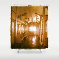 train Shower Curtains featuring Train  by Raquel Belloch