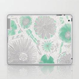 Mint & Silver Flowers Laptop & iPad Skin