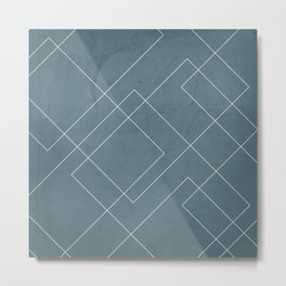 Overlapping Diamond Lines on Teal Metal Print
