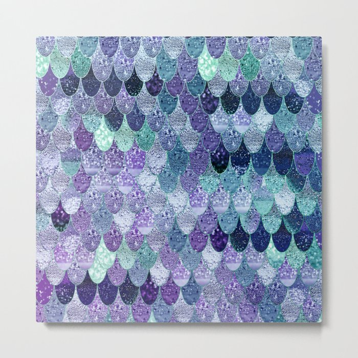 SUMMER MERMAID  Purple & Mint by Monika Strigel Metal Print