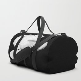 White Peony Black Background Duffle Bag
