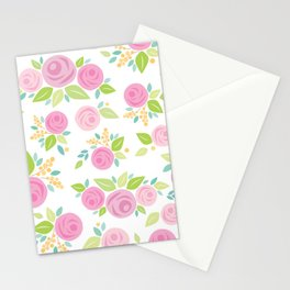 Paper Roses & Leaves Pattern Stationery Cards