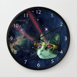 Laser cat with glasses in space Wall Clock