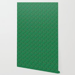Greenery Green and Beige Leopard Spotted Animal Print Pattern Wallpaper
