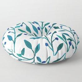 leafs and fruit - blue color pallete Floor Pillow