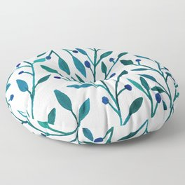 leafs and fruit - blue color pallete Floor Pillow