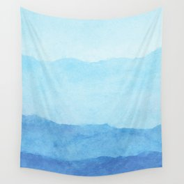 Ombre Waves in Blue Wall Tapestry