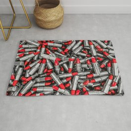 Lipstick chrome / 3D render of red chrome lipsticks Rug