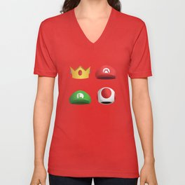 Super Mario Character Hats - White Unisex V-Neck
