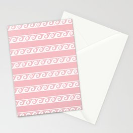 Pink and white Greek wave ornament pattern Stationery Cards