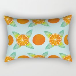 Watercolor Oranges Pattern in Blue Rectangular Pillow