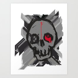 Skull with one eye red Art Print